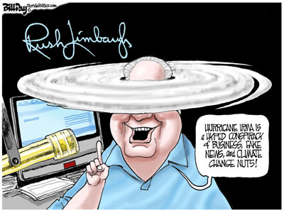 Rush Limbaugh runs away from Global Warming