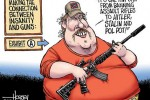 Assault rifle ban cartoon, and story of felon in Maximum Security who thanks the NRA for making it easier for him to get a gun illegally