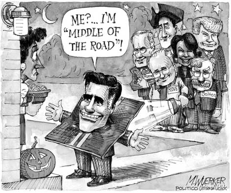 Romney Tirck or Trick wuerker cartoon