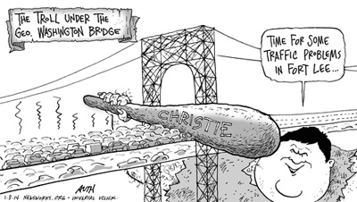 Chris Christie Bully Troll under the bridge. Tony Auth cartoon