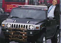 Obama denies global warming in hummer with gun rack
