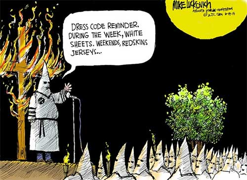 Klan wears Redskins T-shirts on weekends, Lukovich cartoon