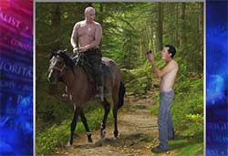 Shirtless stephen colbert and putin