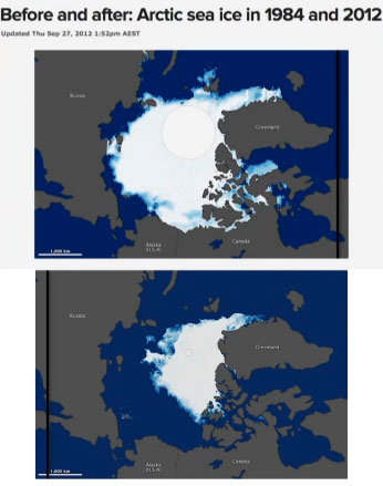 artic lost half sea ice in 25 years
