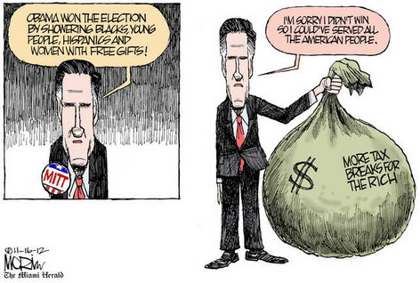 Romney explains Obama's 'gifts' to the few, and apologizes for failure to win and serve 'all Americans.'