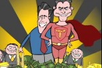 Mark Fiore cartoon: Paul Ryan is Romney's hero: Deficit Hawkman! Cut taxes for rich, eliminate all programs for the rest of us!