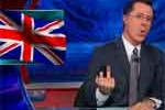 stephen colbert gives England the finger